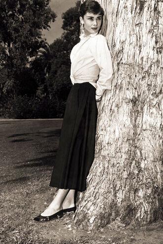 skirt maxi skirt black skirt shirt white shirt flats ballet flats black flats black shoes audrey hepburn actress