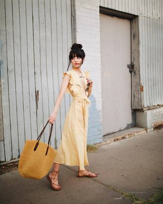 dress tumblr midi dress yellow yellow dress sandals flat sandals bag tote bag woven bag shoes