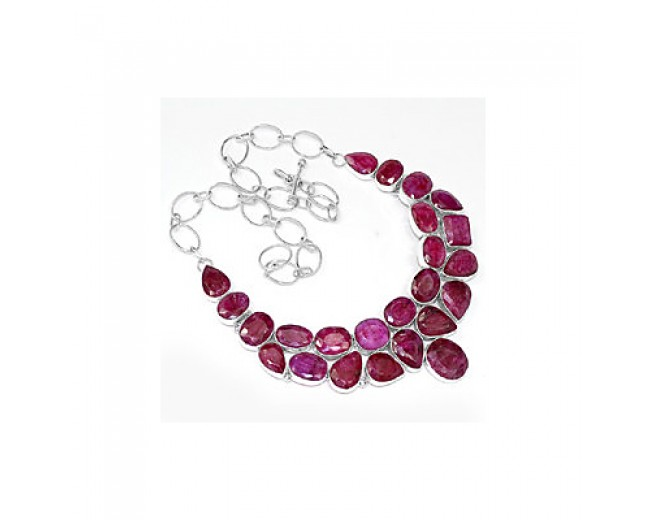 Genuine 925 sterling silver Indian Ruby Gemstone Cluster Necklace