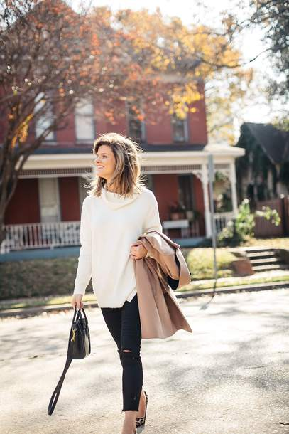 brighton the day blog | dallas fashion blog blogger coat sweater jeans shoes jewels bag sunglasses winter outfits white sweater handbag beige coat skinny jeans