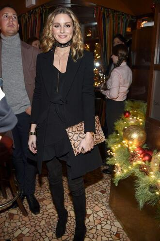skirt all black everything olivia palermo blogger top blouse choker necklace jewels