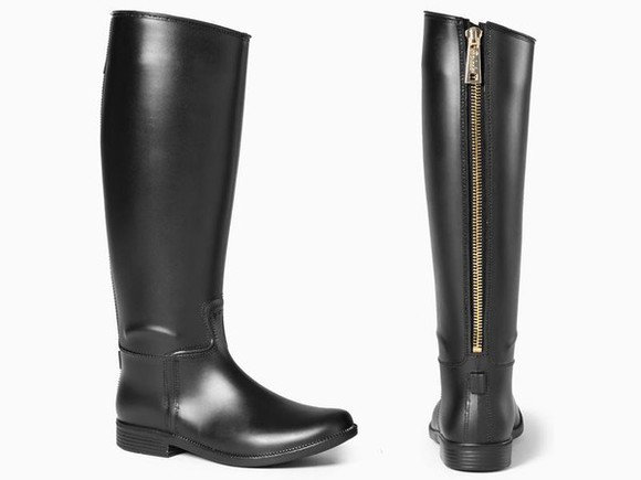 shoes black boots black zipper rubber boots knee high boots faux leather wellies rain boots black white bow