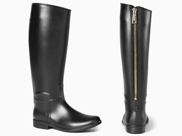 shoes black boots zip rubber boots black knee high boots faux leather wellies