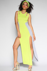 Rad Neon & Gray Cut Out Maxi Dress | Obsezz