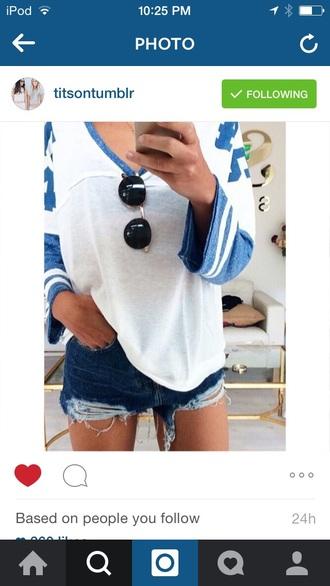 shirt blue colorblock sporty white t-shirt aviator sunglasses