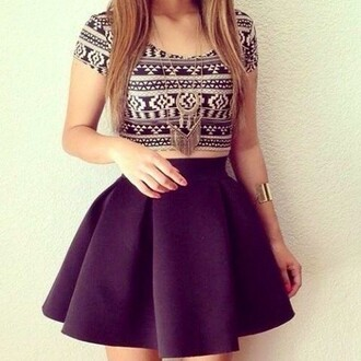 shirt tribal print top black and white crop tops