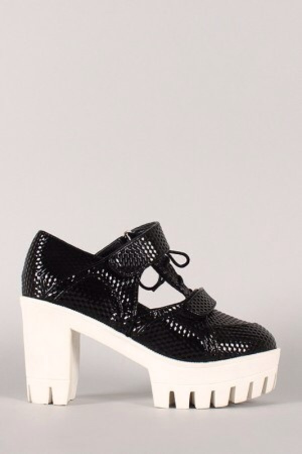 shoes platform booties textured black white