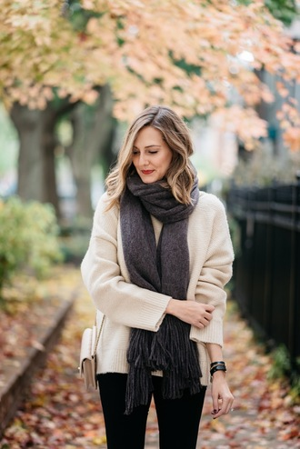see jane blogger scarf leggings jeans sweater shoes beige sweater fall outfits oversized sweater nude bag shoulder bag tumblr knitted scarf knitwear bag pants black pants