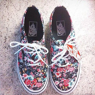 vans pink white printed vans shoes flowers floral vans floral shoes tumblr oufit trainers sneakers vans off the wall girly