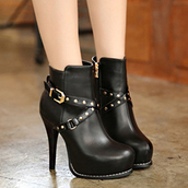 shoes,high heels,fashion,style,buckles,black,faux leather,fall outfits