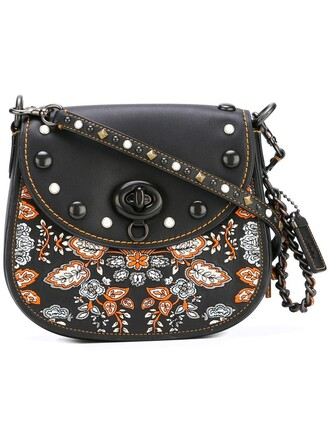 embroidered women bag shoulder bag black