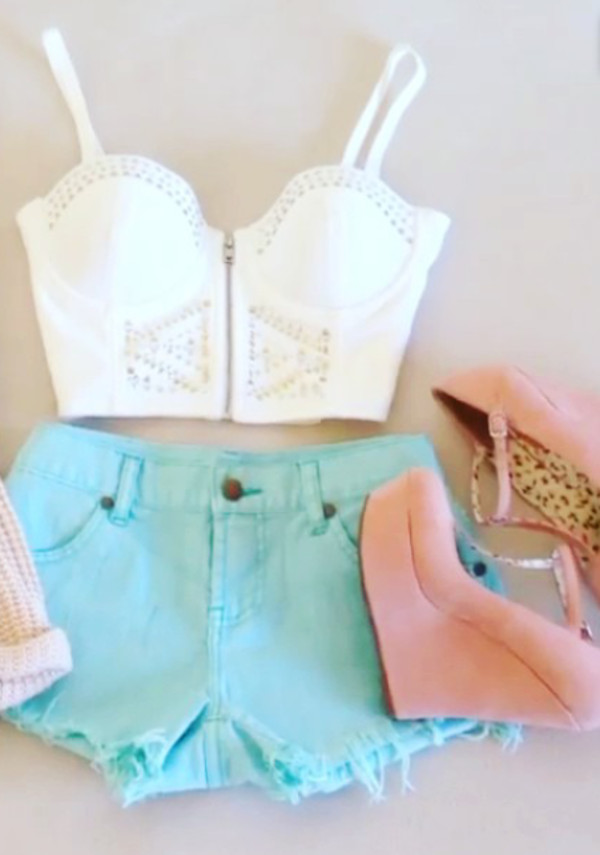 shorts crop tops shoes heels summer white pink blue belly top shirt