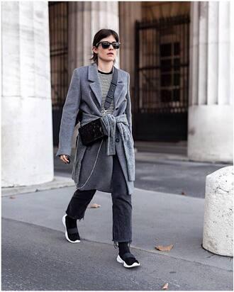 coat grey coat tumblr denim jeans black jeans sneakers black sneakers sunglasses stripes striped top bag crossbody bag