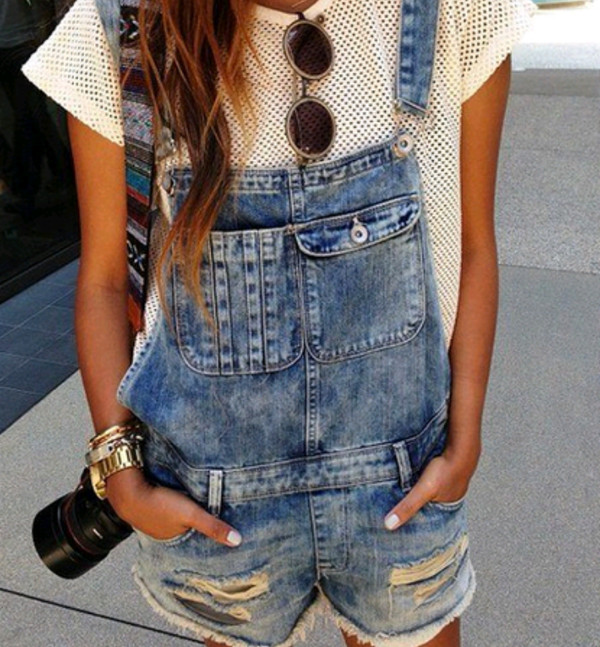 shirt white denim short overalls sunglasses bag aztec neacklace bracelets watch