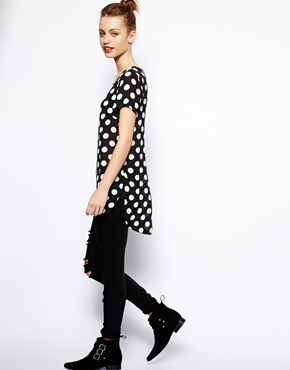 New Look | New Look Spot Print Woven Tee at ASOS