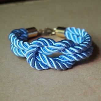 bracelets jewels rope bracelet knotting bracelet charm bracelet pure copper clip bracelets blue bracelet diy handmade fasion vintage girl