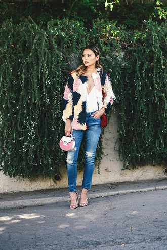 jeans coat top blogger sandals jamie chung jacket printed fur jacket denim blue jeans ripped jeans bag pink bag sandal heels high heel sandals