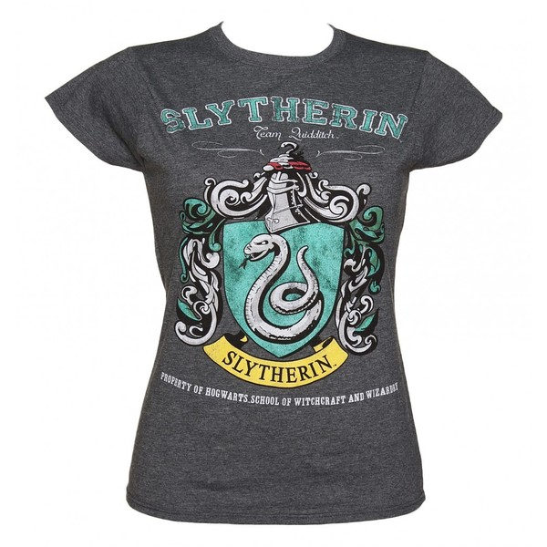 Ladies charcoal harry potter slytherin team quidditch t