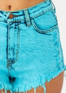 Aqua distressed cut off shorts high waist hotpants vintage denim urban edgy