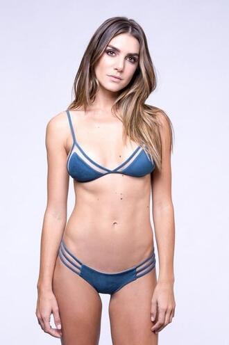 top bikini top blue bralette dbrie green reversible triangle bikiniluxe