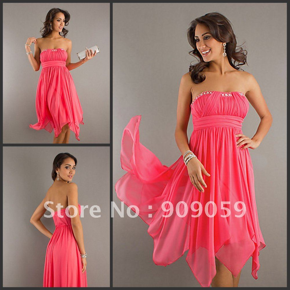 Fashion discount off the shoulder hot pink organza ruffle beaded short mini knee length homecoming dress prom party gown hc013
