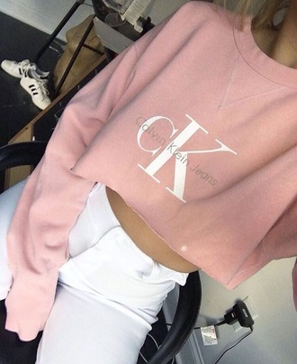 calvin klein underwear cropped sweater white pants high waisted pants pink sweater sweater soft pink calvin klein pink calvin klein jeans crewneck sweater