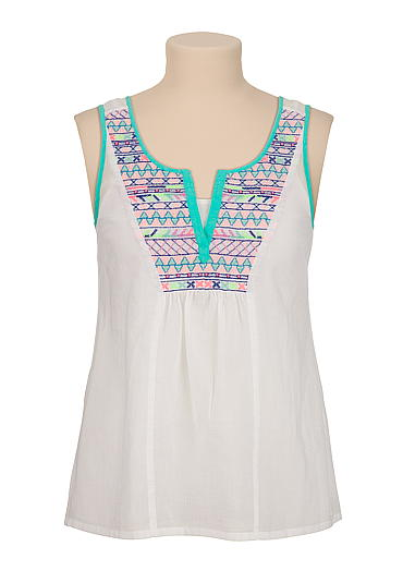 Multi color embroidered tank - maurices.com
