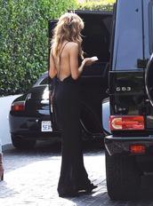 dress,backless maxi dress,maxi dress,black,backless