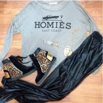 sweater grey homies gold leather shoes