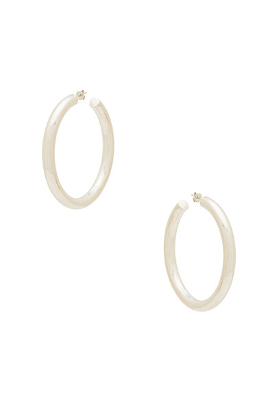 The M Jewelers NY The Thick Hoop Earrings in metallic / silver