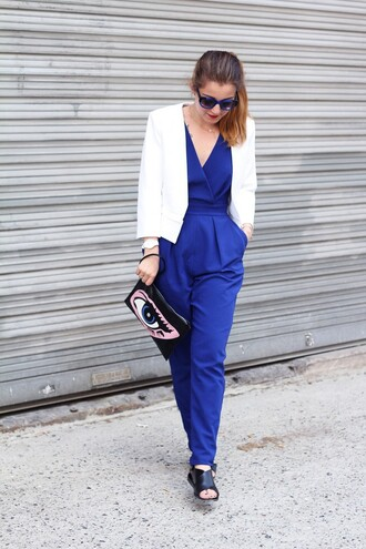 elodie in paris blogger jumpsuit royal blue white blazer eyes