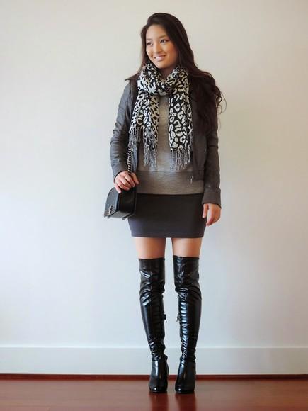 scarf jacket blogger bag sensible stylista black boots