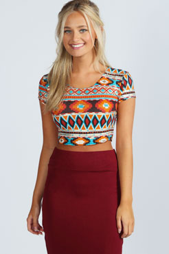 Betty Aztec Foil Print Crop Top at boohoo.com