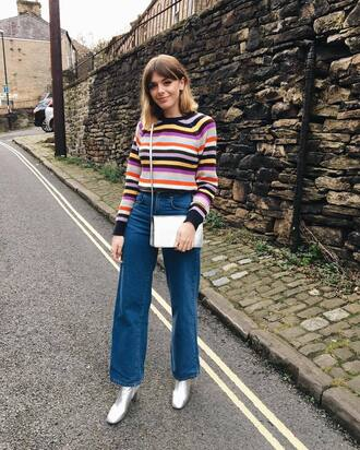 sweater tumblr stripes striped sweater denim jeans blue jeans wide-leg pants boots silver boots bag crossbody bag