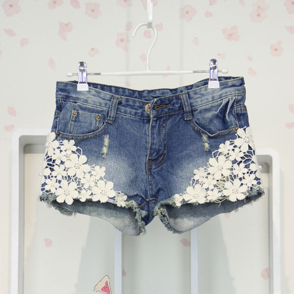 Casual Vintage Womens Lace Flower Jean Shorts Short Pant Trouser Cut Off Denim | eBay