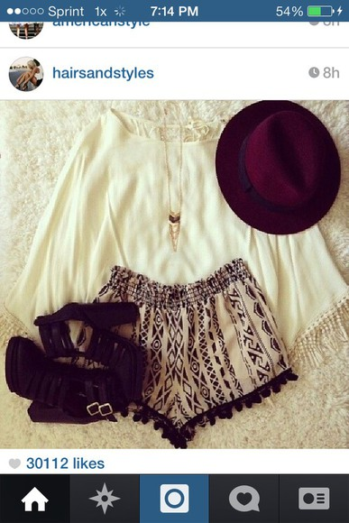 shorts cute black tribal pattern brown tribal shorts flowy