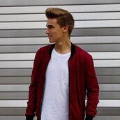 jacket,maniere de voir,bomber jacket,suede,deep,red,embroidered,36683
