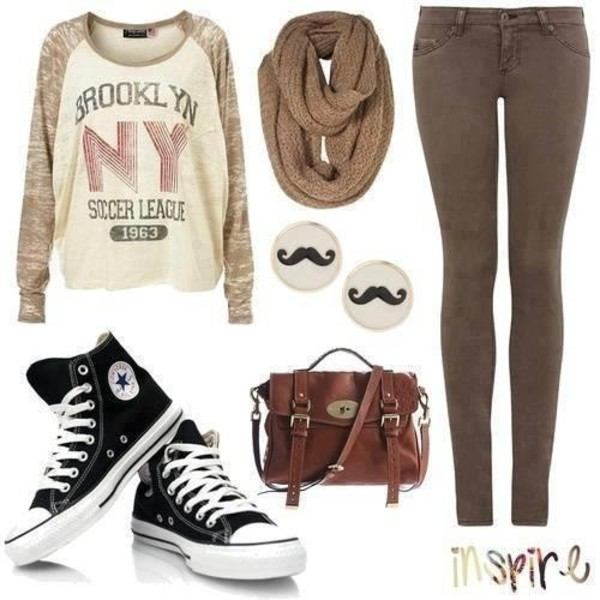 sweater pullover moustache bag scarf back to school fall outfits brooklyn brown leather bag satchel bag top sweatshirt shirt jeans fover 21 pants white and brown shirt new york city beige long sleeves shoes purse