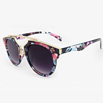 sunglasses gold brow bar bikini luxe floral sunglasses fashion