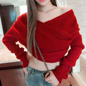top red cropped sweater knitwear long sleeves trendy warm fall outfits cool winter sweater pullover long sleeves solid color asymmetric stylish sweater for women sweater crop
