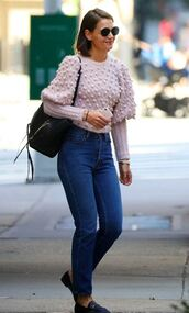 sweater,katie holmes,denim,fall outfits,streetstyle