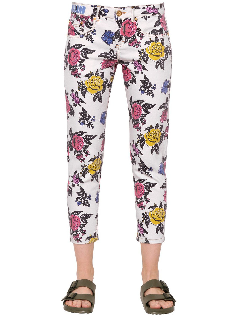 HOUSE OF HOLLAND Rose Printed Straight Cotton Denim Jeans in white / multi