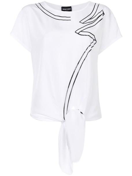Emporio Armani - asymmetric print T-shirt - women - Cotton/Polyester/Spandex/Elastane - 44, White, Cotton/Polyester/Spandex/Elastane