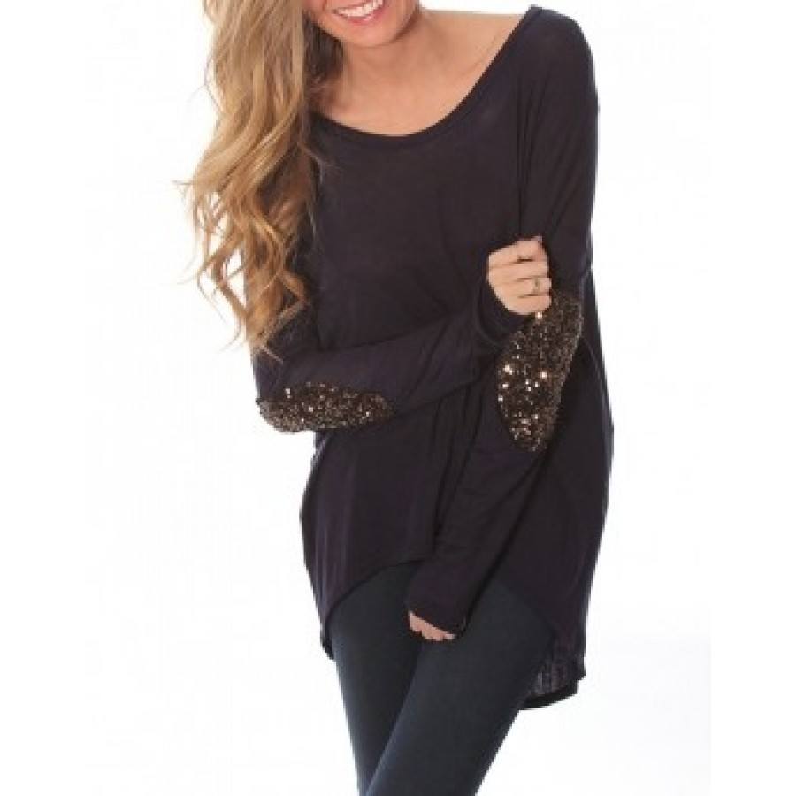 Navy sequin elbow patch tunic
