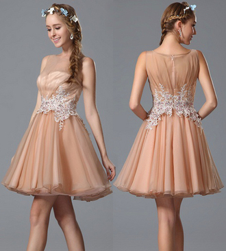dress lace dress cute dress cocktail dress tea length cocktail dresses sleeveless lace peach peach dress short peach dresses applique prom dress