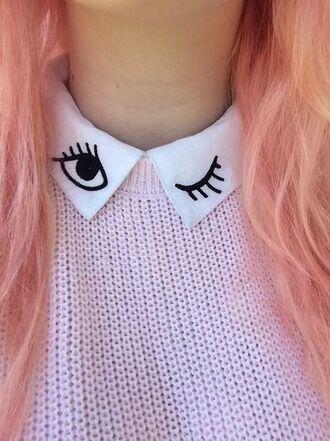 shirt collar winky eye black white