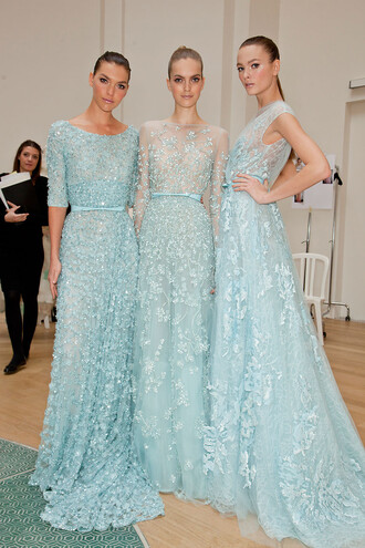 dress elie saab - elie saab model beautiful prom dress blue dress light blue