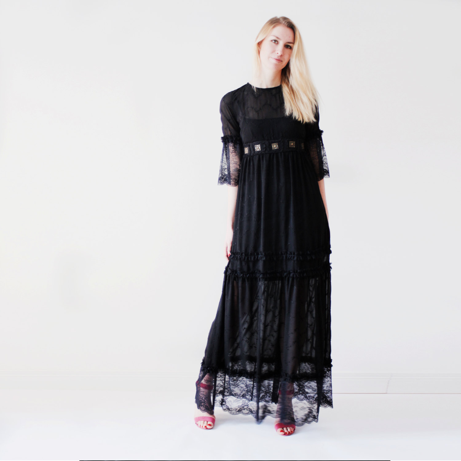 Black maxi dress for summer