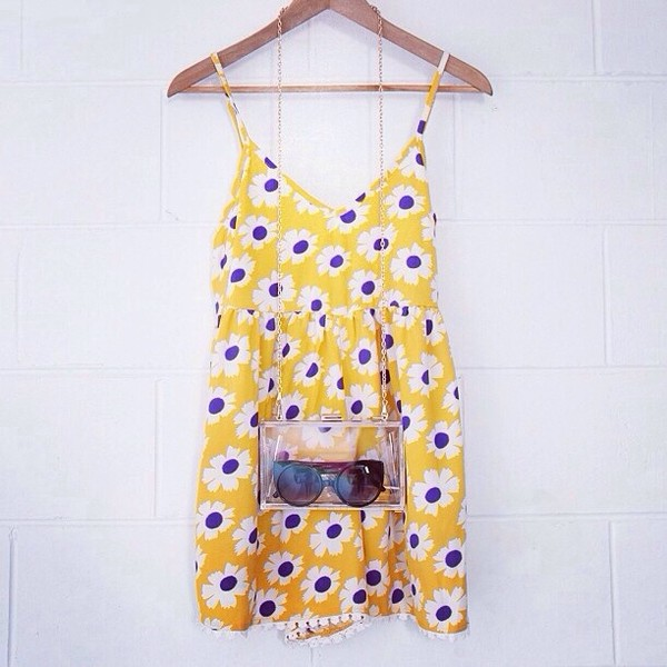 dress yellow dress floral daisy daisy dress retro multicolor hipster bright tumblr bag
