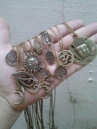 jewels ohm buddha sun trees gold necklace